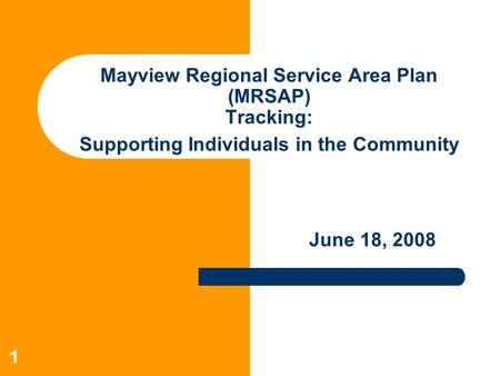 11 Mayview Regional Service Area Plan (MRSAP) Tracking: Supporting Individuals in the Community June 18, 2008.
