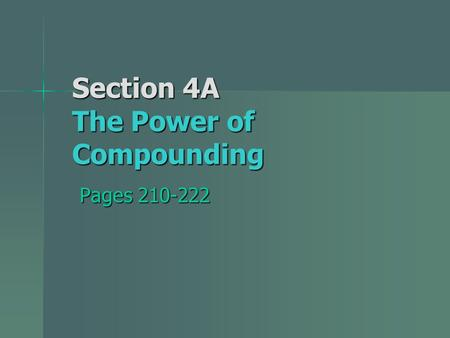 Section 4A The Power of Compounding Pages 210-222.
