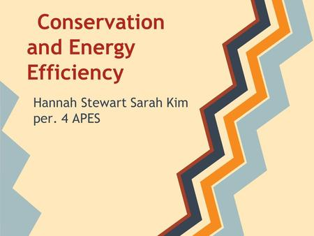 Conservation and Energy Efficiency Hannah Stewart Sarah Kim per. 4 APES.