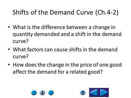 Shifts of the Demand Curve (Ch.4-2) What is the difference between a change in quantity demanded and a shift in the demand curve? What factors can cause.