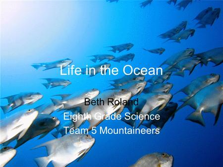 Life in the Ocean Beth Roland Eighth Grade Science Team 5 Mountaineers.