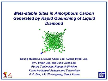 Meta-stable Sites in Amorphous Carbon Generated by Rapid Quenching of Liquid Diamond Seung-Hyeob Lee, Seung-Cheol Lee, Kwang-Ryeol Lee, Kyu-Hwan Lee, and.
