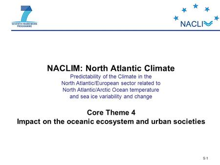 S 1 NACLIM: North Atlantic Climate Predictability of the Climate in the North Atlantic/European sector related to North Atlantic/Arctic Ocean temperature.