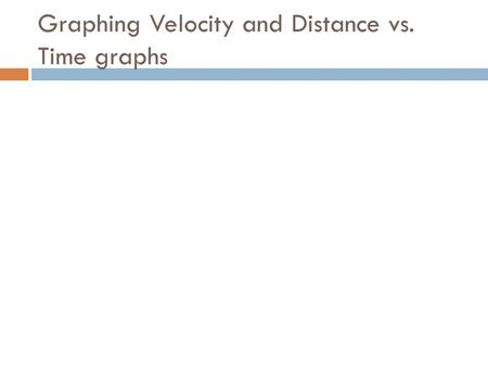 Graphing Velocity and Distance vs. Time graphs. Distance-Time Graphs  Time is always plotted on the X-axis (bottom of the graph).  Distance is always.