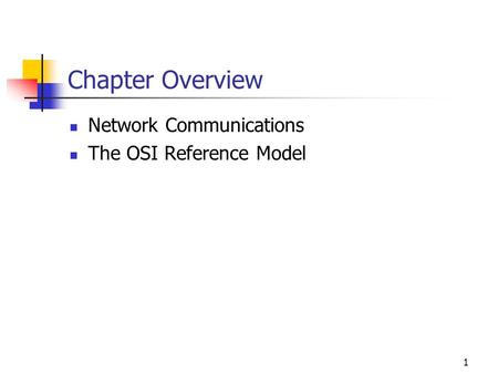 1 Chapter Overview Network Communications The OSI Reference Model.