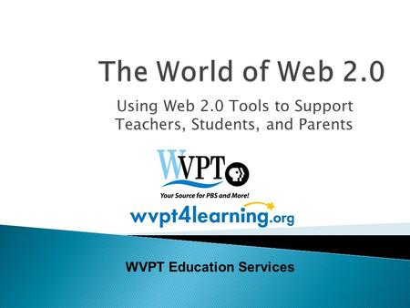 Using Web 2.0 Tools to Support Teachers, Students, and Parents WVPT Education Services.