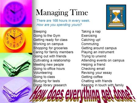 Managing Time There are 168 hours in every week. How are you spending yours? Sleeping Going to the Gym Getting ready for class Working on campus Shopping.