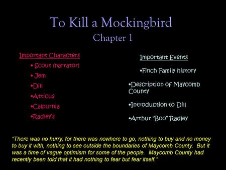 To Kill a Mockingbird Chapter 1 Important Characters Important Events