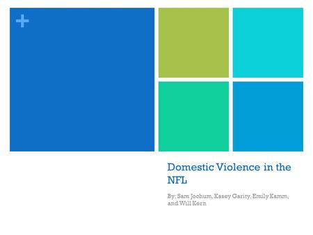 + Domestic Violence in the NFL By: Sam Jochum, Kasey Garity, Emily Kamm, and Will Kern.