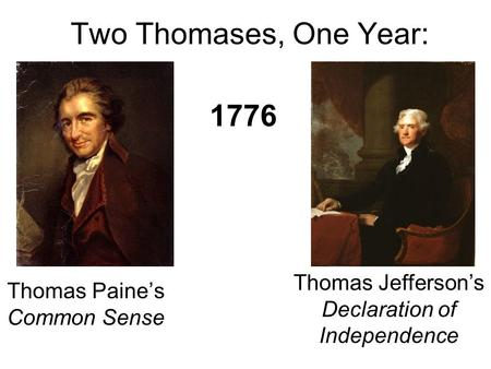 Two Thomases, One Year: Thomas Paine's Common Sense Thomas Jefferson's Declaration of Independence 1776.