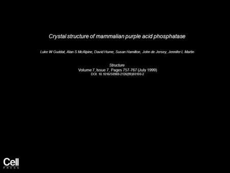 Crystal structure of mammalian purple acid phosphatase Luke W Guddat, Alan S McAlpine, David Hume, Susan Hamilton, John de Jersey, Jennifer L Martin Structure.