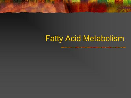 Fatty Acid Metabolism. Why are fatty acids important to cells? fuel molecules stored as triacylglycerols building blocks phospholipids glycolipids precursors.