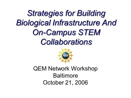 Strategies for Building Biological Infrastructure And On-Campus STEM Collaborations QEM Network Workshop Baltimore October 21, 2006.