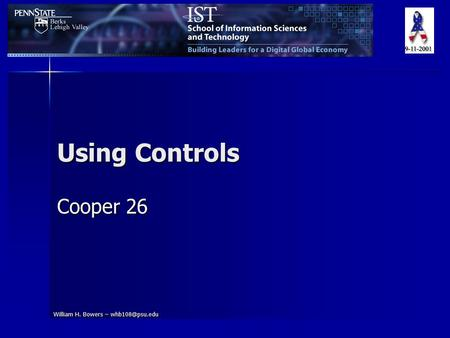 William H. Bowers – Using Controls Cooper 26.