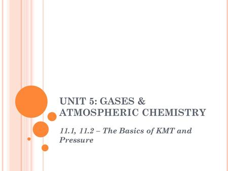 UNIT 5: GASES & ATMOSPHERIC CHEMISTRY 11.1, 11.2 – The Basics of KMT and Pressure.