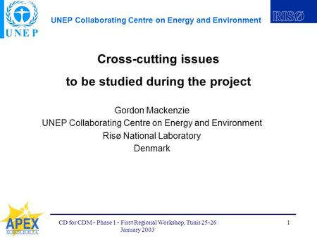 UNEP Collaborating Centre on Energy and Environment CD for CDM - Phase 1 - First Regional Workshop, Tunis 25-26 January 2003 1 Cross-cutting issues to.