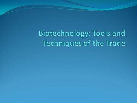 Biotechnology biotechnology – manipulation of biological organisms (usually with DNA itself) To study the functions of individual genes, molecular biologists.