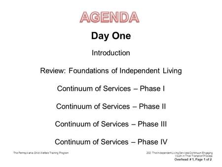 Day One Introduction Review: Foundations of Independent Living Continuum of Services – Phase I Continuum of Services – Phase II Continuum of Services –