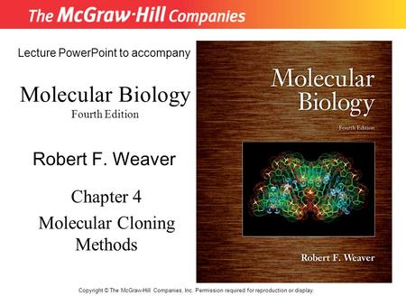 Molecular Biology Fourth Edition Chapter 4 Molecular Cloning Methods Lecture PowerPoint to accompany Robert F. Weaver Copyright © The McGraw-Hill Companies,