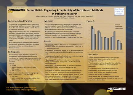 Parent Beliefs Regarding Acceptability of Recruitment Methods in Pediatric Research Susan T. Heinze, M.S., Amy J. Majewski, B.A., Elaine C. Bennaton, B.A.,