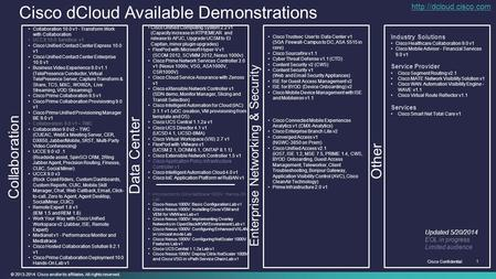 © 2013-2014 Cisco and/or its affiliates. All rights reserved. Cisco Confidential 1 Cisco dCloud Available Demonstrations Data Center Enterprise Networking.
