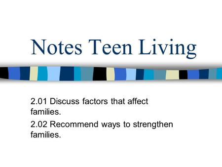 Notes Teen Living 2.01 Discuss factors that affect families. 2.02 Recommend ways to strengthen families.