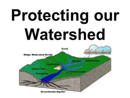 Protecting our Watershed. What is a watershed? A watershed is an area of land that drains into a body of water: –Stream –River –Lake (Let's take a look!)Let's.