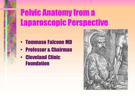 Pelvic Anatomy from a Laparoscopic Perspective Tommaso Falcone MD Professor & Chairman Cleveland Clinic Foundation.