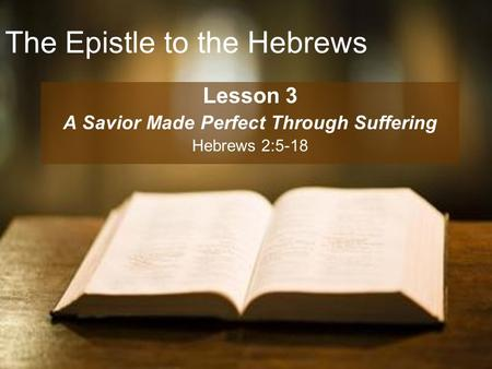 The Epistle to the Hebrews Lesson 3 A Savior Made Perfect Through Suffering Hebrews 2:5-18.