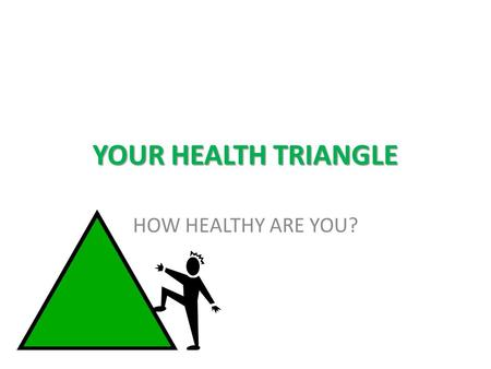 YOUR HEALTH TRIANGLE HOW HEALTHY ARE YOU?. PHYSICAL HEALTH LABEL YOUR PAPER PHYSICAL HEALTH 1) 2) 3) 4) 5) 6)