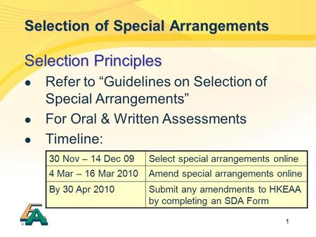 "1 Selection of Special Arrangements Selection Principles Refer to ""Guidelines on Selection of Special Arrangements"" For Oral & Written Assessments Timeline:"