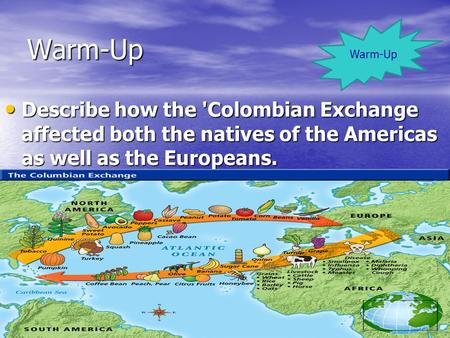 Warm-Up Describe how the 'Colombian Exchange affected both the natives of the Americas as well as the Europeans. Describe how the 'Colombian Exchange affected.