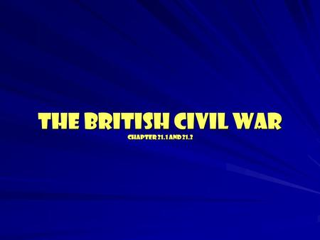 THE BRITISH CIVIL WAR Chapter 21.1 and 21.2. Civil War? What's the definition of a Civil War? What issue is the problem in England? Who are the two sides.
