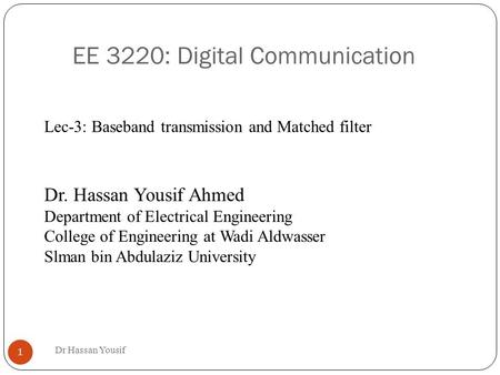 EE 3220: Digital Communication