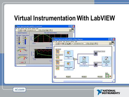 "Virtual Instrumentation With LabVIEW. Front Panel Controls = Inputs Indicators = Outputs Block Diagram Accompanying ""program"" for front panel Components."
