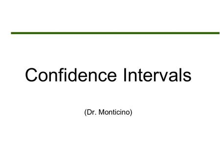 Confidence Intervals (Dr. Monticino). Assignment Sheet  Read Chapter 21  Assignment # 14 (Due Monday May 2 nd )  Chapter 21 Exercise Set A: 1,2,3,7.