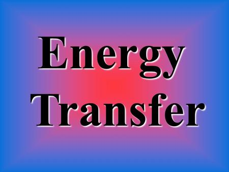 EnergyTransfer. MOVE Energy can MOVE from one place to another (like lightning)! TRANSFER This is called Energy TRANSFER.