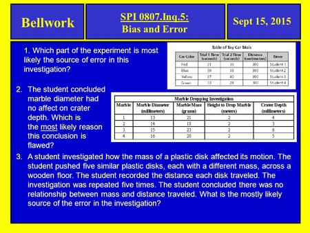 Bellwork Sept 15, 2015 SPI 0807.Inq.5: Bias and Error 1. Which part of the experiment is most likely the source of error in this investigation? 2.The student.