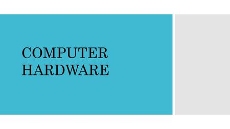 COMPUTER HARDWARE. Presented By  Name: MOHD. SHAFIKUR RAHMAN  ID:142-15-4105  Department: Computer Science & Engineering.