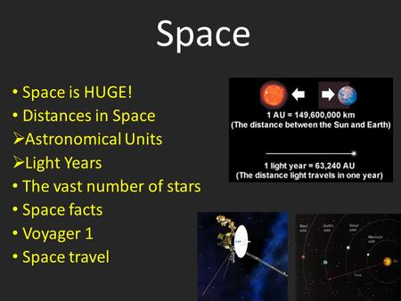 Space Space is HUGE! Distances in Space  Astronomical Units  Light Years The vast number of stars Space facts Voyager 1 Space travel.
