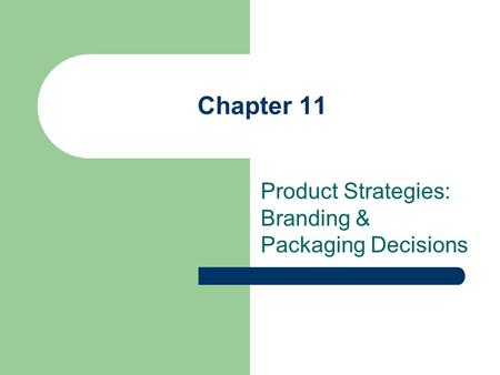 Chapter 11 Product Strategies: Branding & Packaging Decisions.
