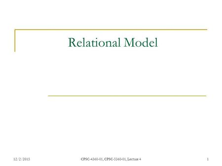 12/2/2015CPSC-4360-01, CPSC-5360-01, Lecture 41 Relational Model.