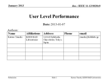 Submission doc.: IEEE 11-13/0030r0 January 2013 Katsuo Yunoki, KDDI R&D LaboratoriesSlide 1 User Level Performance Date: 2013-01-07 Authors: