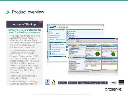Arcserve ® Backup Enterprise-class protection for small & mid-size+ businesses  File-based backup to disk, tape & cloud (Amazon, Azure, Cloudian, Eucalyptus,
