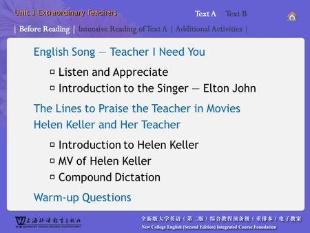 Unit 3 Extraordinary Teachers English Song — Teacher I Need You *Before Reading _main* The Lines to Praise the Teacher in Movies Helen Keller <strong>and</strong> Her Teacher.