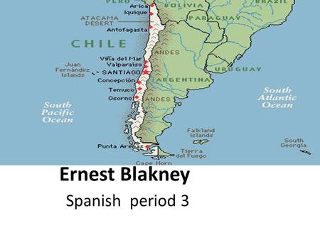 Ernest Blakney Spanish period 3. Key Data Capital is Santiago Population is 16,888,760 Climate is temperate it is dessert in the north Mediterranean in.