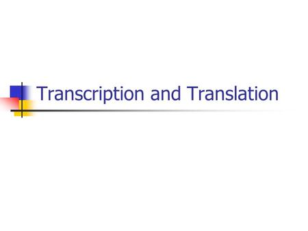 Transcription and Translation. RNA DNA stores and transmits the information needed to make proteins, but it does not actually use that information to.