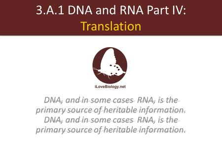 3.A.1 DNA and RNA Part IV: Translation DNA, and in some cases RNA, is the primary source of heritable information. DNA, and in some cases RNA, is the primary.