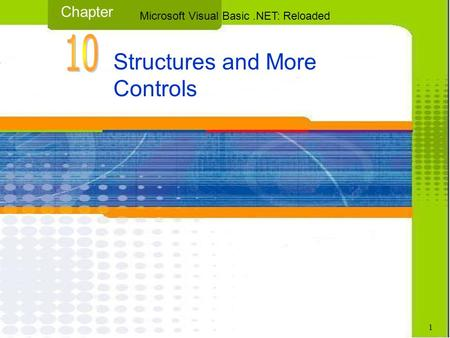Structures and More Controls Chapter Microsoft Visual Basic.NET: Reloaded 1.