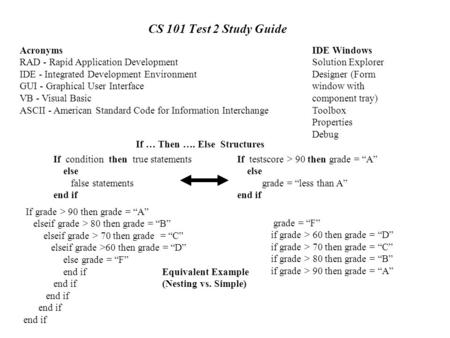 CS 101 Test 2 Study Guide Acronyms RAD - Rapid Application Development IDE - Integrated Development Environment GUI - Graphical User Interface VB - Visual.